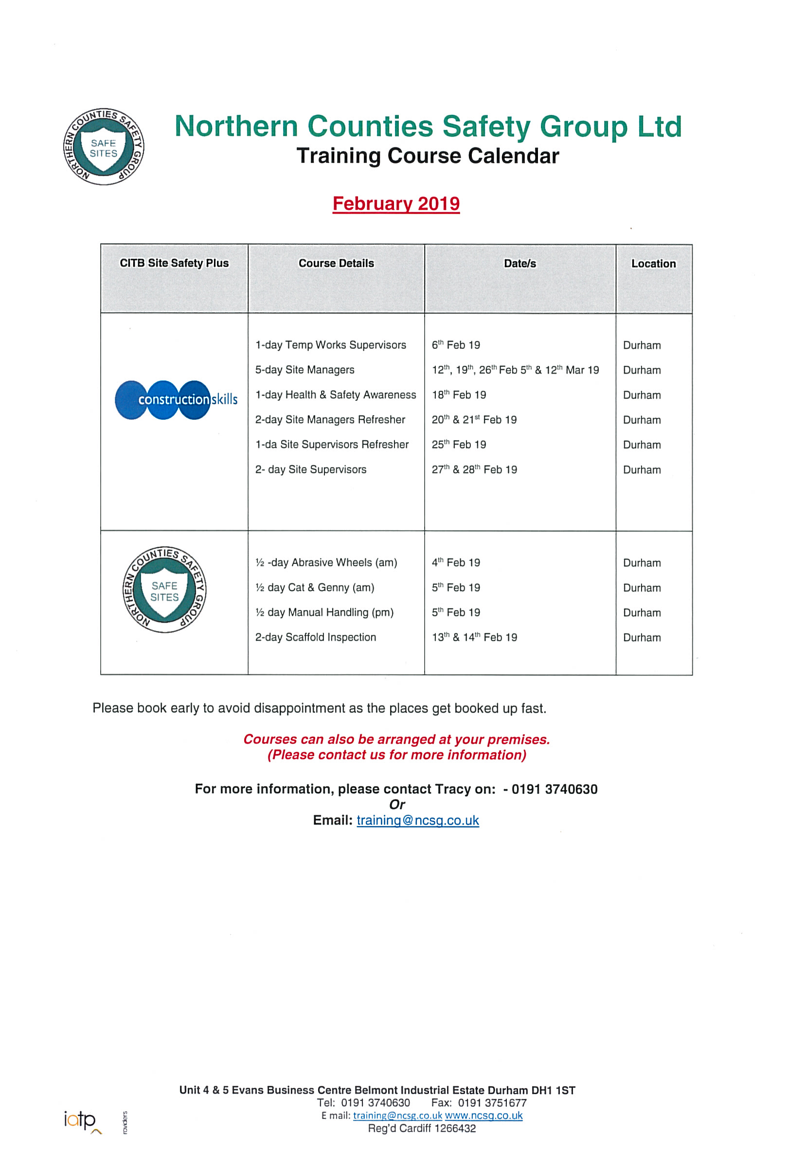 February 2019 Open Course Flyer